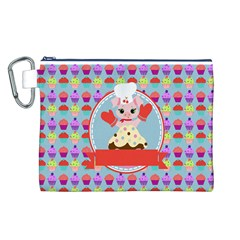 Cupcake with Cute Pig Chef Canvas Cosmetic Bag (Large)