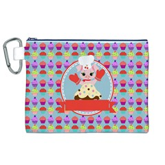 Cupcake with Cute Pig Chef Canvas Cosmetic Bag (XL)
