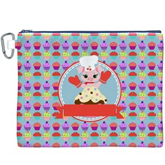 Cupcake With Cute Pig Chef Canvas Cosmetic Bag (xxxl)