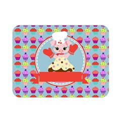 Cupcake with Cute Pig Chef Double Sided Flano Blanket (Mini)