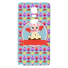 Cupcake With Cute Pig Chef Samsung Note 4 Hardshell Back Case