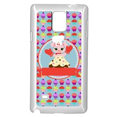 Cupcake With Cute Pig Chef Samsung Galaxy Note 4 Case (white)
