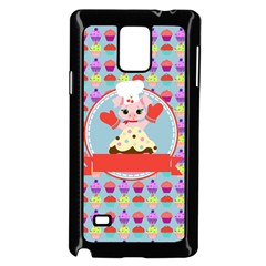 Cupcake With Cute Pig Chef Samsung Galaxy Note 4 Case (black)