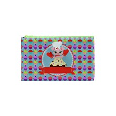 Cupcake with Cute Pig Chef Cosmetic Bag (XS)