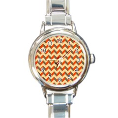 Modern Retro Chevron Patchwork Pattern  Round Italian Charm Watch