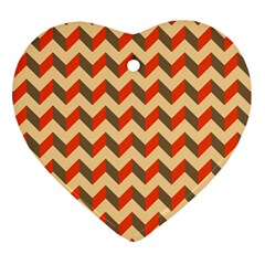 Modern Retro Chevron Patchwork Pattern  Heart Ornament