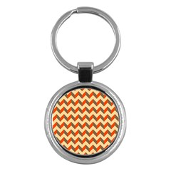 Modern Retro Chevron Patchwork Pattern  Key Chain (round)