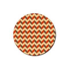 Modern Retro Chevron Patchwork Pattern  Drink Coasters 4 Pack (round)