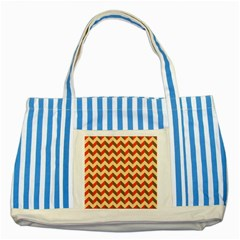 Modern Retro Chevron Patchwork Pattern  Blue Striped Tote Bag