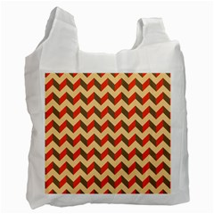 Modern Retro Chevron Patchwork Pattern  White Reusable Bag (one Side)