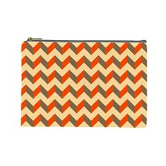Modern Retro Chevron Patchwork Pattern  Cosmetic Bag (large)