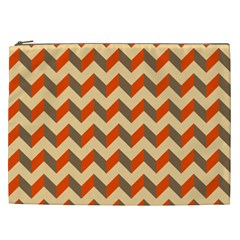 Modern Retro Chevron Patchwork Pattern  Cosmetic Bag (xxl)