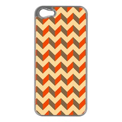 Modern Retro Chevron Patchwork Pattern  Apple Iphone 5 Case (silver)