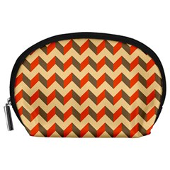 Modern Retro Chevron Patchwork Pattern  Accessory Pouch (Large)