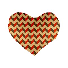 Modern Retro Chevron Patchwork Pattern  16  Premium Flano Heart Shape Cushion