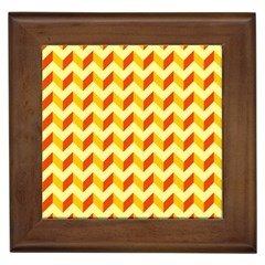 Modern Retro Chevron Patchwork Pattern  Framed Ceramic Tile