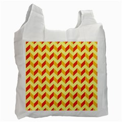 Modern Retro Chevron Patchwork Pattern  White Reusable Bag (two Sides)