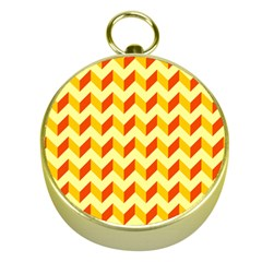 Modern Retro Chevron Patchwork Pattern  Gold Compass