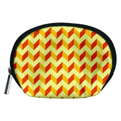 Modern Retro Chevron Patchwork Pattern  Accessory Pouch (Medium)