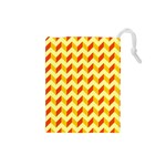 Modern Retro Chevron Patchwork Pattern  Drawstring Pouch (Small) Front