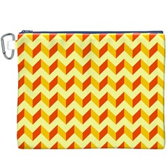 Modern Retro Chevron Patchwork Pattern  Canvas Cosmetic Bag (XXXL)