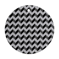 Modern Retro Chevron Patchwork Pattern  Round Ornament