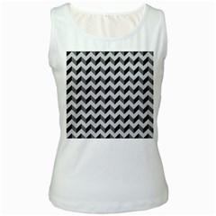 Modern Retro Chevron Patchwork Pattern  Women s Tank Top (white)