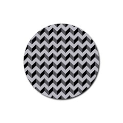 Modern Retro Chevron Patchwork Pattern  Drink Coaster (round)