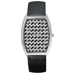 Modern Retro Chevron Patchwork Pattern  Tonneau Leather Watch