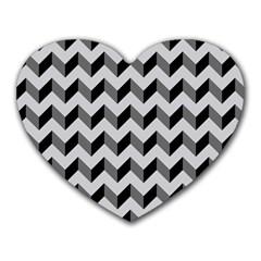 Modern Retro Chevron Patchwork Pattern  Mouse Pad (heart)