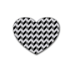 Modern Retro Chevron Patchwork Pattern  Drink Coasters 4 Pack (heart)