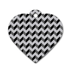Modern Retro Chevron Patchwork Pattern  Dog Tag Heart (one Sided)