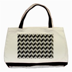 Modern Retro Chevron Patchwork Pattern  Twin Sided Black Tote Bag