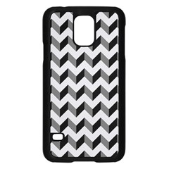 Modern Retro Chevron Patchwork Pattern  Samsung Galaxy S5 Case (Black)
