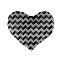 Modern Retro Chevron Patchwork Pattern  16  Premium Flano Heart Shape Cushion
