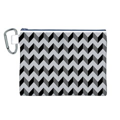 Modern Retro Chevron Patchwork Pattern  Canvas Cosmetic Bag (Large)