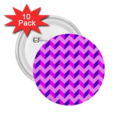 Modern Retro Chevron Patchwork Pattern 2 25  Button (10 Pack)