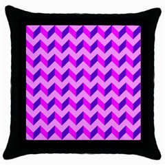 Modern Retro Chevron Patchwork Pattern Black Throw Pillow Case