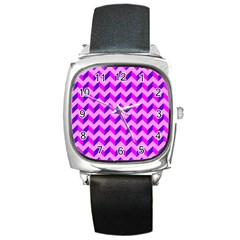 Modern Retro Chevron Patchwork Pattern Square Leather Watch