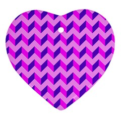Modern Retro Chevron Patchwork Pattern Heart Ornament (two Sides)