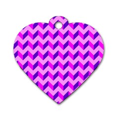 Modern Retro Chevron Patchwork Pattern Dog Tag Heart (two Sided)
