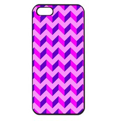 Modern Retro Chevron Patchwork Pattern Apple Iphone 5 Seamless Case (black)