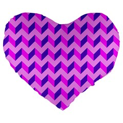 Modern Retro Chevron Patchwork Pattern 19  Premium Heart Shape Cushion