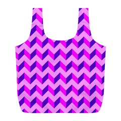 Modern Retro Chevron Patchwork Pattern Reusable Bag (L)