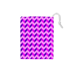 Modern Retro Chevron Patchwork Pattern Drawstring Pouch (small)