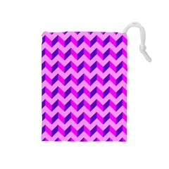 Modern Retro Chevron Patchwork Pattern Drawstring Pouch (medium)