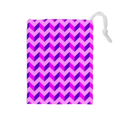 Modern Retro Chevron Patchwork Pattern Drawstring Pouch (large)