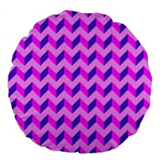 Modern Retro Chevron Patchwork Pattern 18  Premium Flano Round Cushion