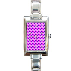 Modern Retro Chevron Patchwork Pattern Rectangular Italian Charm Watch