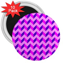 Modern Retro Chevron Patchwork Pattern 3  Button Magnet (10 Pack)